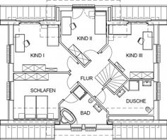 Landhaus Grundriss Dachgeschoss mit 90,59 m² Wohnfläche                                                                                                                                                                                 Mehr