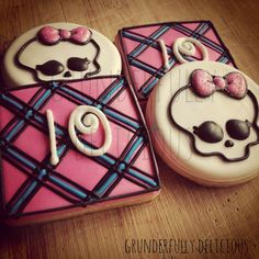 Monster High decorated cookies by Grunderfully Delicious