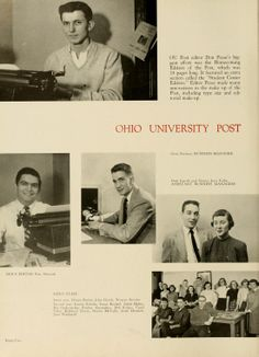 Athena yearbook, 1952. The Post editor is photographed on top, as other staff members are shown towards the bottom of the page. :: Ohio University Archives