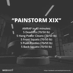 """""""Painstorm XIX"""" WOD The Painstorm WODs are a series of workouts that became popular after they were shared in the CrossFit Forum, typically with Credit to Brand X CrossFit and CrossFit Central Scotland. Amrap Workout, Aerobics Workout, Hiit, Kettlebell Cardio, Crossfit Workouts At Home, Crossfit Forum, Crossfit Leg Workout, Crossfit Lifts, Crossfit Workouts For Beginners"""