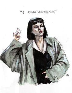 Mia wallace Art Print by Lucas David Mia Wallace, Drawing Sketches, Art Drawings, Lucas David, Pulp Fiction Art, Uma Thurman, Aesthetic Art, Dark Art, Art Girl