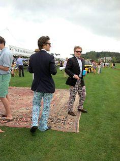 rug outside and funky groomsmen pants.