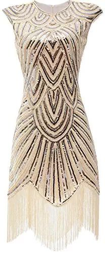 Gatsby Glam-Sequined Cream Flapper Dress