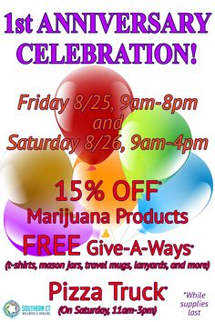Come celebrate our 1-Year Anniversary! We want to show our appreciation and gratitude for selecting Southern CT Wellness & Healing as your dispensary.  Here's what you'll see at the end of this week: Friday 8/25 and Saturday 8/26 - 15% OFF* on ALL marijuana products (not to be combined with other discounts) + Free giveaways* (non-marijuana products). Saturday 8/26 - Pizza truck from 11am to 3pm – grab a slice* on us on your way out of the dispensary!  *While supplies last