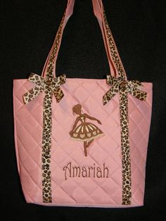 6468ec7406b3 Personalized Pink Satin Leopard Ribbon Trim Tote Bag