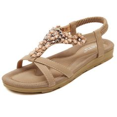Bohemia Flat Gladiator Shoes (Color: Apricot) | To save upto 30% visit our website  uniquefashionusa.com