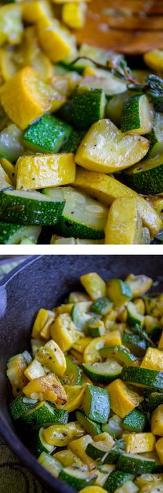 10 Minute Sautéed Zucchini and Squash Side Dish from The Food Charlatan. A quick and easy zucchini and squash sauté to use up all your garden veggies! No need to complicate life: a bit of olive oil and thyme is all you need. It is really good!