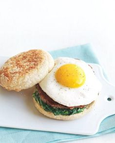 """See the """"Egg Florentine Breakfast Sandwich"""" in our Quick Breakfast-for-Dinner Recipes gallery Breakfast Sandwich Recipes, Savory Breakfast, Breakfast For Dinner, Breakfast Time, Brunch Recipes, Dinner Recipes, Breakfast Ideas, Breakfast Pizza, Health Breakfast"""