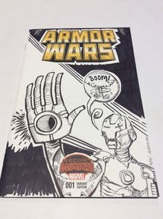 Armor Wars #1 Secret Wars Blank Sketch Variant Cover Comic Book from Marvel with an original Iron Man sketch eBay