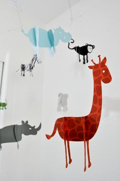 Safari Animal Baby Mobile with Recycled Paper! SUPER CUTE!!! I want one!!!