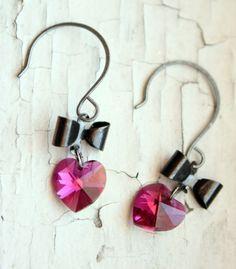 Items similar to Girly Swarovski Hot Pink Heart and Bow Earrings on Etsy Heart Jewelry, Heart Earrings, Cute Jewelry, Unique Jewelry, Material Girls, Hot Pink, Ears, Swarovski, Girly
