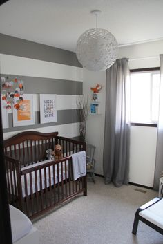 Postcard & Willow Photography: Interior Design : Everetts Grey,White,Orange & Teal Nursery