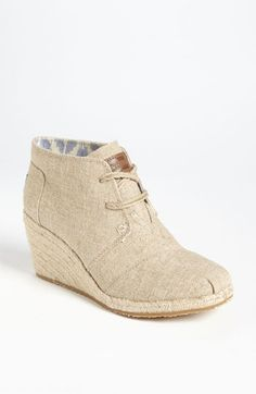 Cute booties! TOMS Burlap Wedge Bootie.