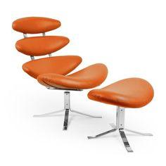 Kardiel Corona Accent Chair with Ottoman Caramel - CORONA-CARAMEL