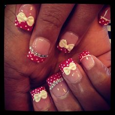 cute polka dots with 3D bows - Nail Art Gallery by NAILS Magazine