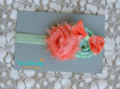 Shabby Chic Coral & Mint Headband - Baby Girls Headband - Summer Headband