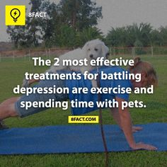The 2 most effective treatments for battling depression are exercise and spending time with pets.