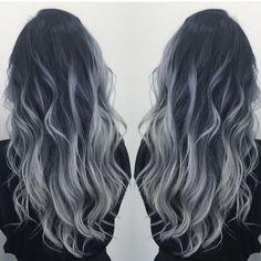 Black to gray silver balayage - Hair - Hair Colored Curly Hair, Long Curly Hair, Curly Hair Styles, Natural Hair Styles, Balayage Hair Blonde, Black Balayage, Ash Blonde, White Blonde, Light Blonde