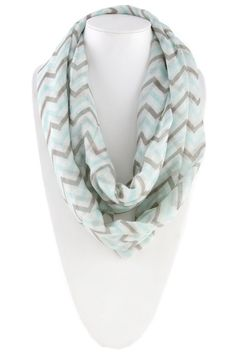 Infinity scarf in mint, gray, and white.