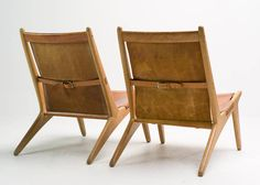 """Pair of """"Hunting Chair"""" model 204 by Uno & Osten Kristiansson   From a unique collection of antique and modern lounge chairs at https://www.1stdibs.com/furniture/seating/lounge-chairs/"""