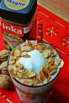 Christmas coffee with poppy seed  cream and roasted almonds