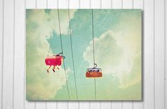 Summer Photography, Candy Colours, Carnival, Vintage Inspired, Sky, Blue, Pink, Yellow - Hanging Around (8x10) Fine Art Print. $30.00, via Etsy.