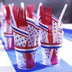 Easy craft idea for the 4th of July: Decorate plastic cups with red, white and blue rubber bands, then have children write each person's name on the white bands. Your guests will be able to keep track of their drinks.