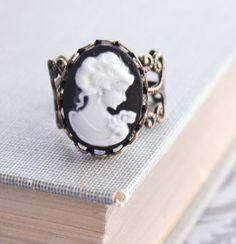 Cameo Ring Black and White Cameo Lady Face by apocketofposies