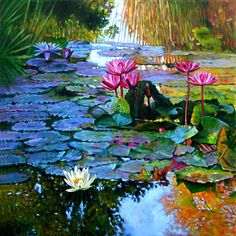 Expressions from the Garden Art Print by John Lautermilch. All prints are professionally printed, packaged, and shipped within 3 - 4 business days. Choose from multiple sizes and hundreds of frame and mat options. Water Lilies Painting, Pond Painting, Lily Painting, Garden Painting, Garden Art, Garden Ponds, Landscape Art, Landscape Paintings, Lily Pond