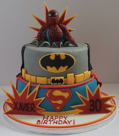 Superhero birthday cake - perfect for Quinn & Joel.  :-)