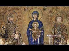 The Comnenus mosaics in Hagia Sophia (Istanbul, Turkey) The Virgin Mary is standing in the middle, holding the Child Christ on her lap. On her right side stands emperor John II Comnenus ; on her left side, empress Irene. Sainte Sophie Istanbul, Hagia Sophia Istanbul, Ste Sophie, Eslava, Early Middle Ages, Byzantine Art, Byzantine Mosaics, Religious Icons, Orthodox Icons