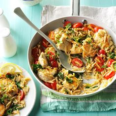 Lemon Chicken with Orzo Recipe -Here's a dish that's light and summery but still filling. My kids love all the veggies...for real! If you like a lot of lemon, stir in an extra splash of lemon juice just before serving. —Shannon Humphrey, Hampton, Virginia