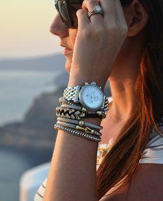 Michelle watch and David Yurman bracelets. Cute combo via Sweet Caroline in the City.