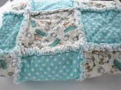 Teal Blue and White Fluffy Flannel Rag Quilt for by Budgiefluff