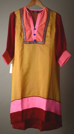 Burgundy yellow n pink Chanderi Silk