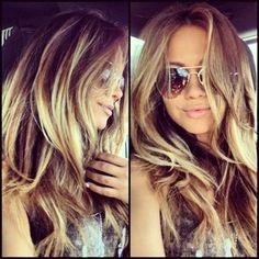 Dark golden brown hair with highlights