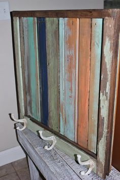 Scrap Wood in an Old Window Frame