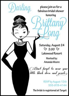 breakfast at tiffany's bridal shower images | Breakfast at Tiffanys Audrey Hepburn Bridal or Baby Shower Invitation ...