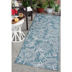 Bliss Rugs Vincent Transitional Indoor/Outdoor Area Rug, Blue