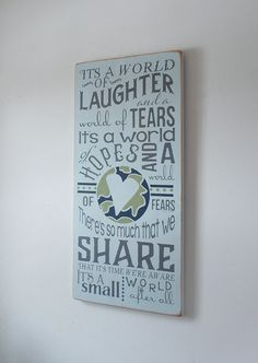 It's A Small World Large Distressed Finish Wood by primsnposies
