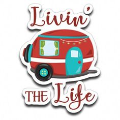 A cute and funny decal design for Camping Lovers! Livin' The Life, with a fun and colorful vintage RV travel trailer with a string of lights. The decal is fairly small at approximately 3 x 2 inches. The decal is high-quality Avery Dennison scuf Camping Signs, Diy Camping, Camping Life, Family Camping, Camping Hacks, Camping Ideas, Camping Stuff, Camping Cabins, Camping Packing
