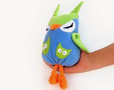 CIJ -15 Owl felt toy, blue, green & orange owl felt toy eco friendly plush toy. $20.00, via Etsy.