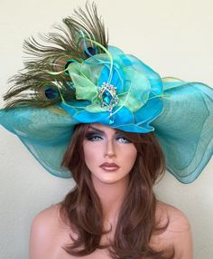 Turquoise Lime Green Hat -Kentucky Derby-Races -Feathers Rhinestones Wide Brim