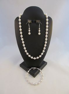 Wedding Jewelry White Swarovski Crystals and Pearls Necklace, Bracelet, & Earrings Set Free Shipping