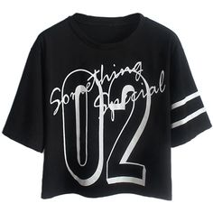 Choies Black Number and Letter Print Crop T-shirt (23 CAD) ❤ liked on Polyvore featuring tops, t-shirts, shirts, crop tops, black, crop tee, black top, pattern t shirts, print tees and print shirts