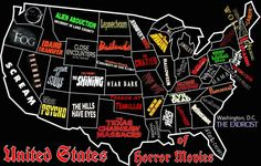 Horror Movie Map Of The United States. Ohio has Nightmare On Elm Street. Cool cool cool.