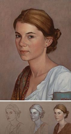 """Working Up From a Grisaille, Step-by-Step Portrait Painting, Scott Bartner Art """"Portrait of Aida"""" (Transcendent Technique) - Scott E. Bartner (b. oil on panel, 2014 {figurative realism art beautiful female woman face portr. Oil Painting Tips, Oil Painting Techniques, Painting Art, Painting Tutorials, Painting Classes, Painting Flowers, Painting Videos, Acrylic Portrait Painting, Acrylic Painting Lessons"""