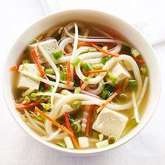 Tofu Noodle Bowl - udon, carrots, ginger, green onion, cabbage, tofu, bean sprouts | Sunset Magazine
