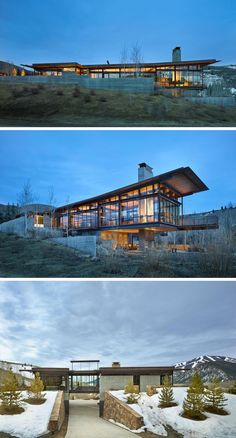 Architecture firm Olson Kundig have designed this modern industrial house in the mountains of Idaho, that has a 25ft pivoting glass wall that opens using a counterbalance.