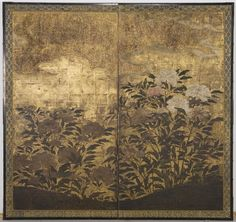 Peonies Japanese Edo period, 1615-1868 Creation Place: Japan Two-panel folding screen; ink, color and gold on paper H. 150.1 x W. 158.8 cm (59 1/8 x 62 1/2 in.) Harvard Art Museums/Arthur M. Sackler Museum, Gift of Mrs. Waldo E. Forbes , 1954.181